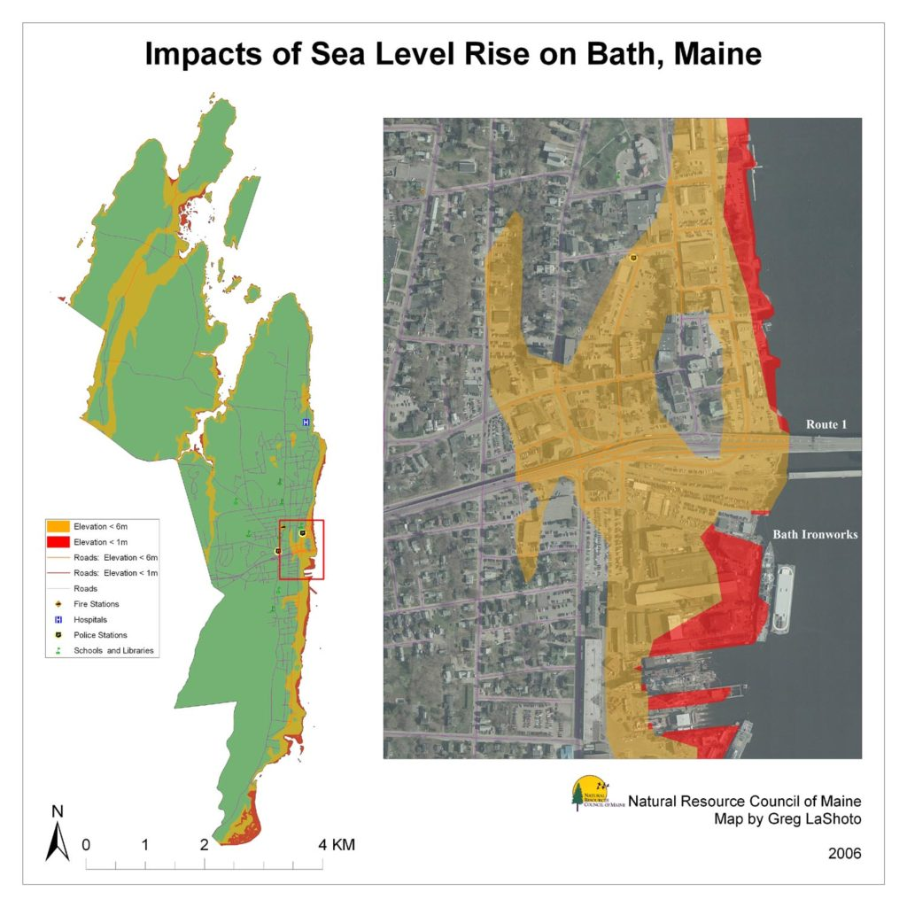Maps Maine Communities Affected Sealevel Rise - Global warming sea level rise map