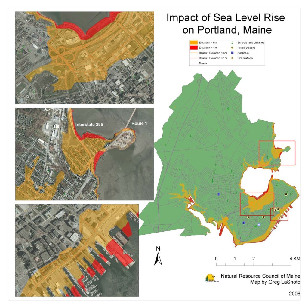Maps Maine Communities Affected Sealevel Rise - Global sea level rise map