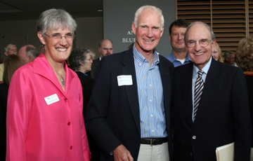 NRCM Executive Director Lisa Pohlmann and Environmental Award Winner Brownie Carson with Senator Mitchell before the start of the annual meeting.