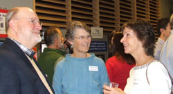 NRCM Board member Tom Tietenberg, North Woods Project Director Cathy Johnson, and former NRCM Board member Jane Eberle catch up during the meeting's reception.