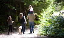family walking in Maine environment