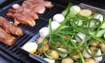 grilling veggies and chicken