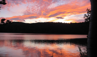 sunset on Varnum Pond Wilton-Temple by Karyl Condit