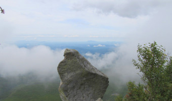 balancing rock near the summit of The Owl in Baxter State Park