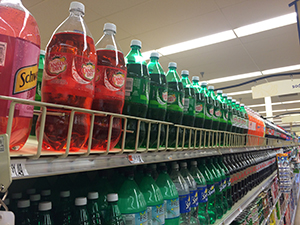 bottles on shelf