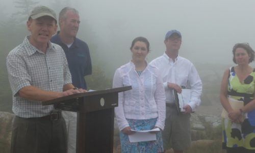 Pete on top of Cadillac Mountain at clean air press conference