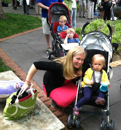 "Hannah Pingree and her daughter as part of the ""stroller brigade"" in Washington, DC earlier this year. They were there to urge Congress to fix our nation's broken federal chemical safety policy."