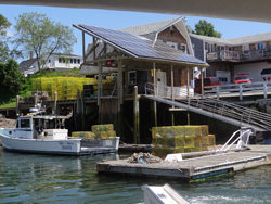 Potts Harbor Lobster, South Harpswell. They believe in protecting Maine's environment so installed solar panels in 2012. They also protected their wharf as a working waterfront in 2010 with Land for Maine's Future funds.