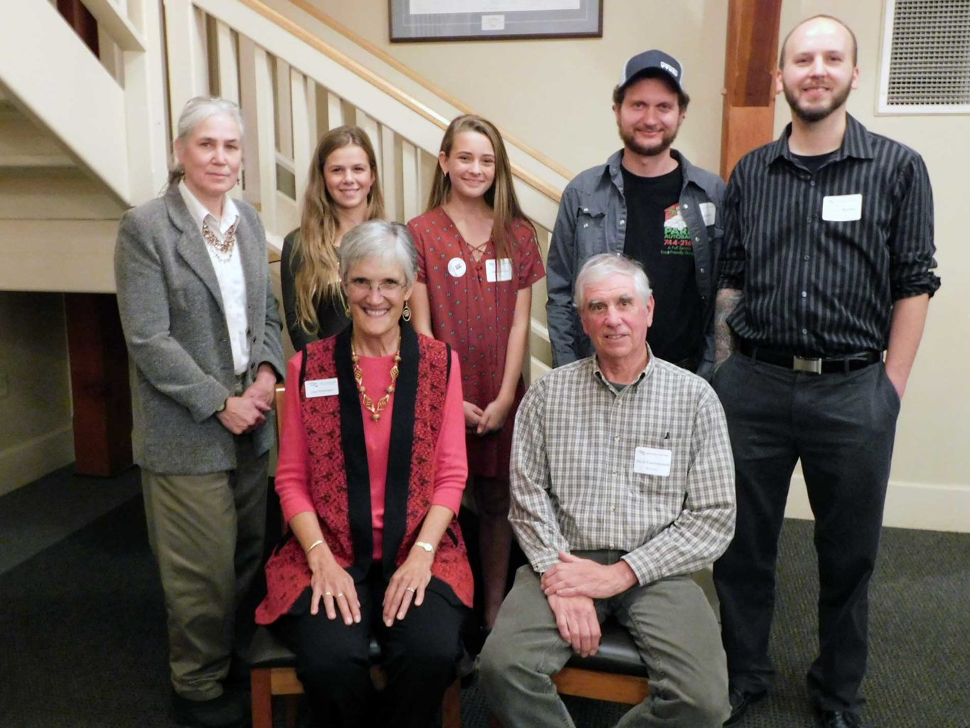 NRCM's 2017 Conservation Leadership Award winners with Lisa Pohlmann (L to R): Martha Spiess, Lainey Randall, Addie Farmer, David Courtemanch (seated), Tony Giambro, and Travis Ritchie