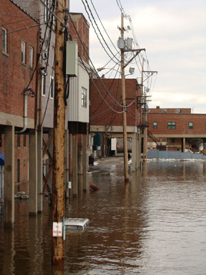 Parking lots and cars are underwater after the Kennebec River flooded in Augusta on January 26, 2010.