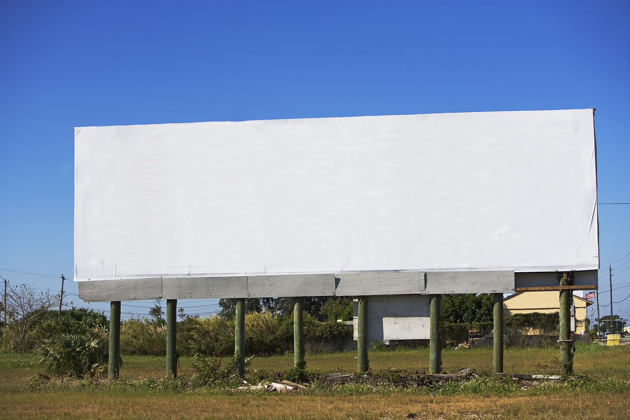 Blank billboard in rural area