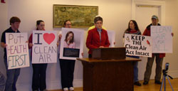 Supporters speak out in Bangor in support of the Clean Air Act. (Photo by John Armstrong)