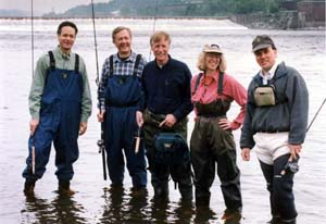 Fishing during the morning of the removal. (far left - Terry Garcia, former Assistant Secretary of Commerce for oceans and atmosphere, U.S. Department of Commerce; second from left - former Interior Secretary Bruce Babbitt; middle - former Governor Angus King)