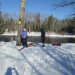 skiers taking break along Penobscot