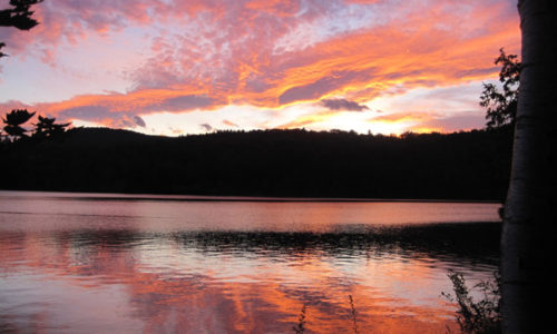 sunset on Varnum Pond Wilton-Temple by Karyl Condit