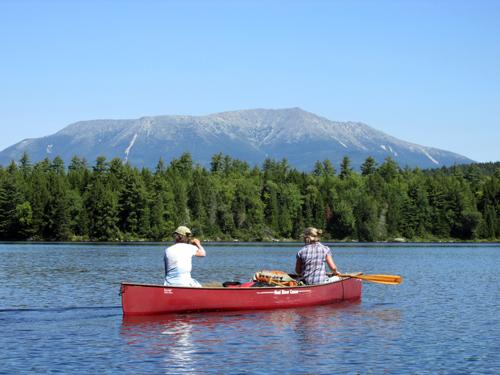 paddling in front of Katahdin