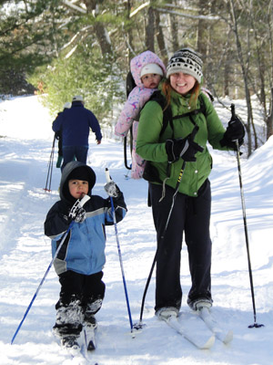 Stacie and family cross-country skiing at HVNC