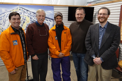 Participating in the tour of Mt. Abram were, from left to right,  Mt. Abram co-owner Rob Lally, Senator Angus King, General Manager Dave Scanlan, Mt. Abram co-owner Matt Hancock, and me.