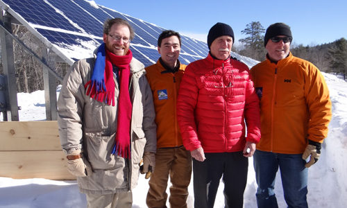 Dylan Voorhees, Mt. Abram owners, and Senator Angus King at Mt. Abram ski resort