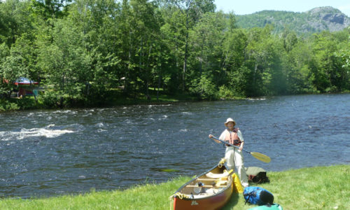 Cathy at Matagamon put in East Branch Penobscot