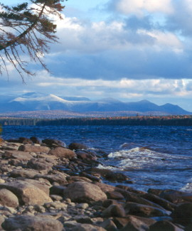 Katahdin Range from Chamberlain Lake-Fall public reserved land