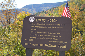 Evan's Notch sign by Beth Comeau