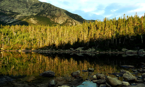 Evening light at Chimney Pond, Baxter State Park
