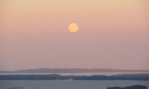Moon rising over Isle au Haut, from Mount Battie