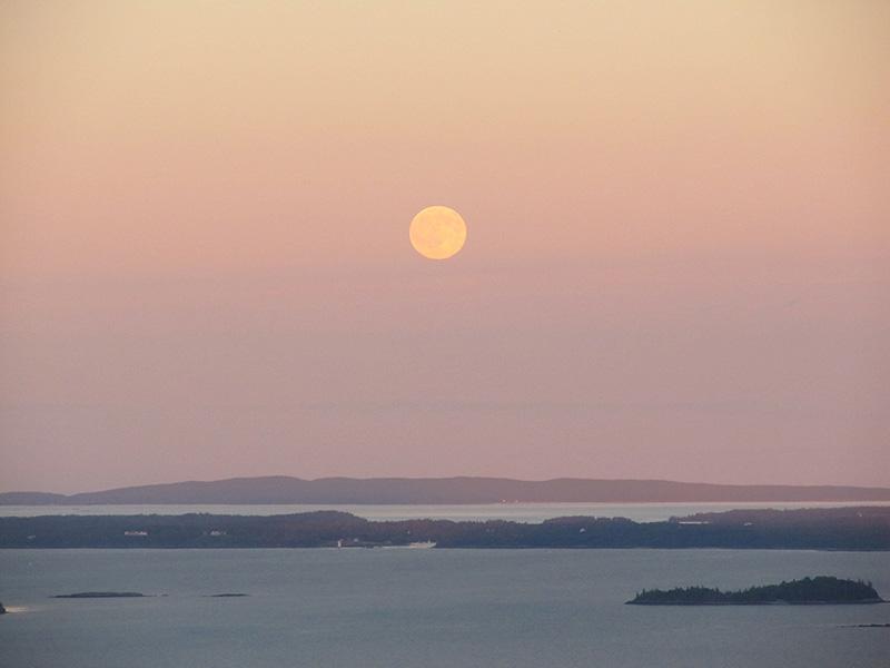 Moon rising over Isle au Haut, from Mount Battie