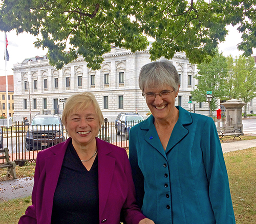 Janet Mills and Lisa Pohlmann speak out about polluters' lawsuit against the Clean Power Plan