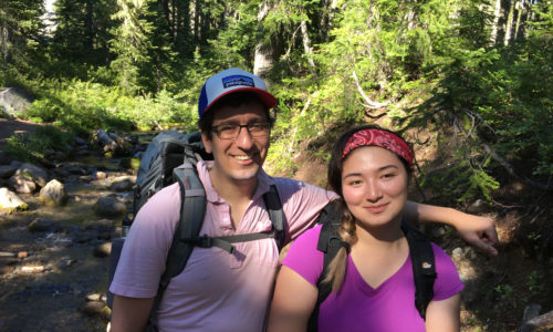 Andrew Mulkey and Sachi Mulkey on the trail in the Jefferson Wilderness.