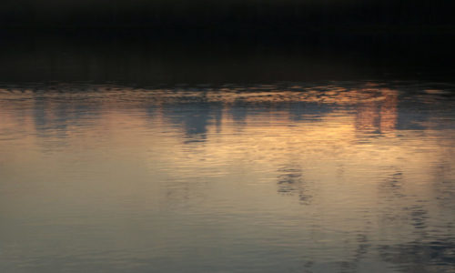Sunset reflections on Narrow Pond