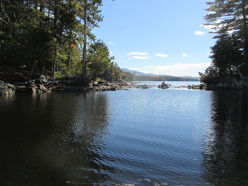 Moxie Pond looking south toward Bald Mountain. Photo by Sam Horine.