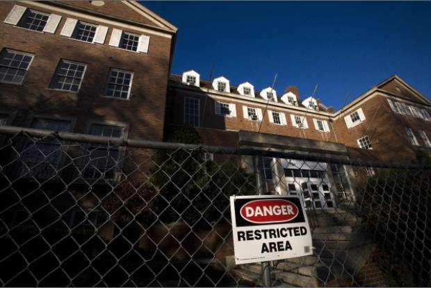 A condemned campus building.