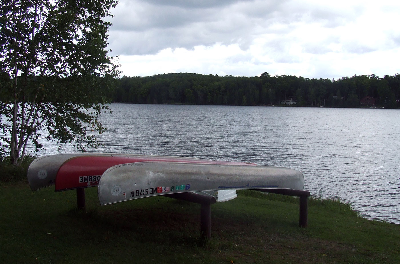 canoes by water at Aroostook State Park