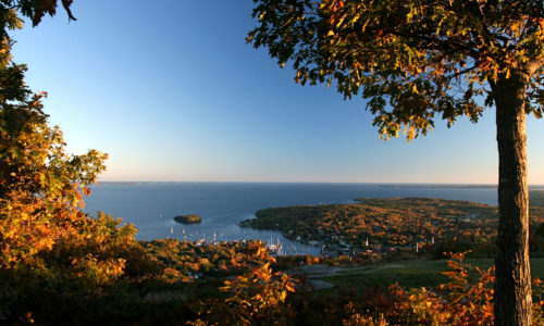 Camden Harbor as seen from Mt. Battie in Camden Hills State Park