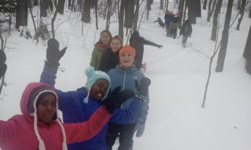 Memorial Middle School students in winter