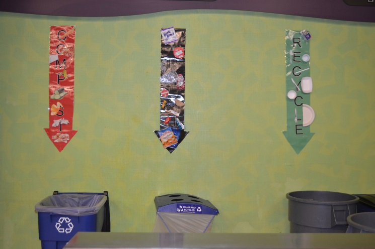 composting and recycling bins at Windham Middle School