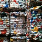 Plastic ready to be recycled at ecomaine