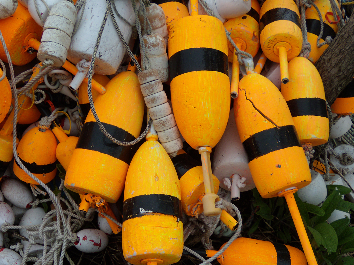 Lobster buoys on Monhegan Island by Tom Meredith