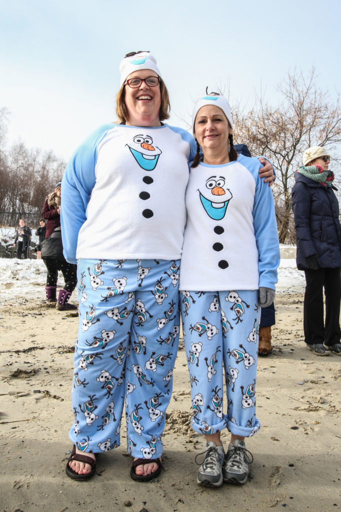 Susan Adams and I getting ready for NRCM's 2015 Polar Bear Dip & Dash.