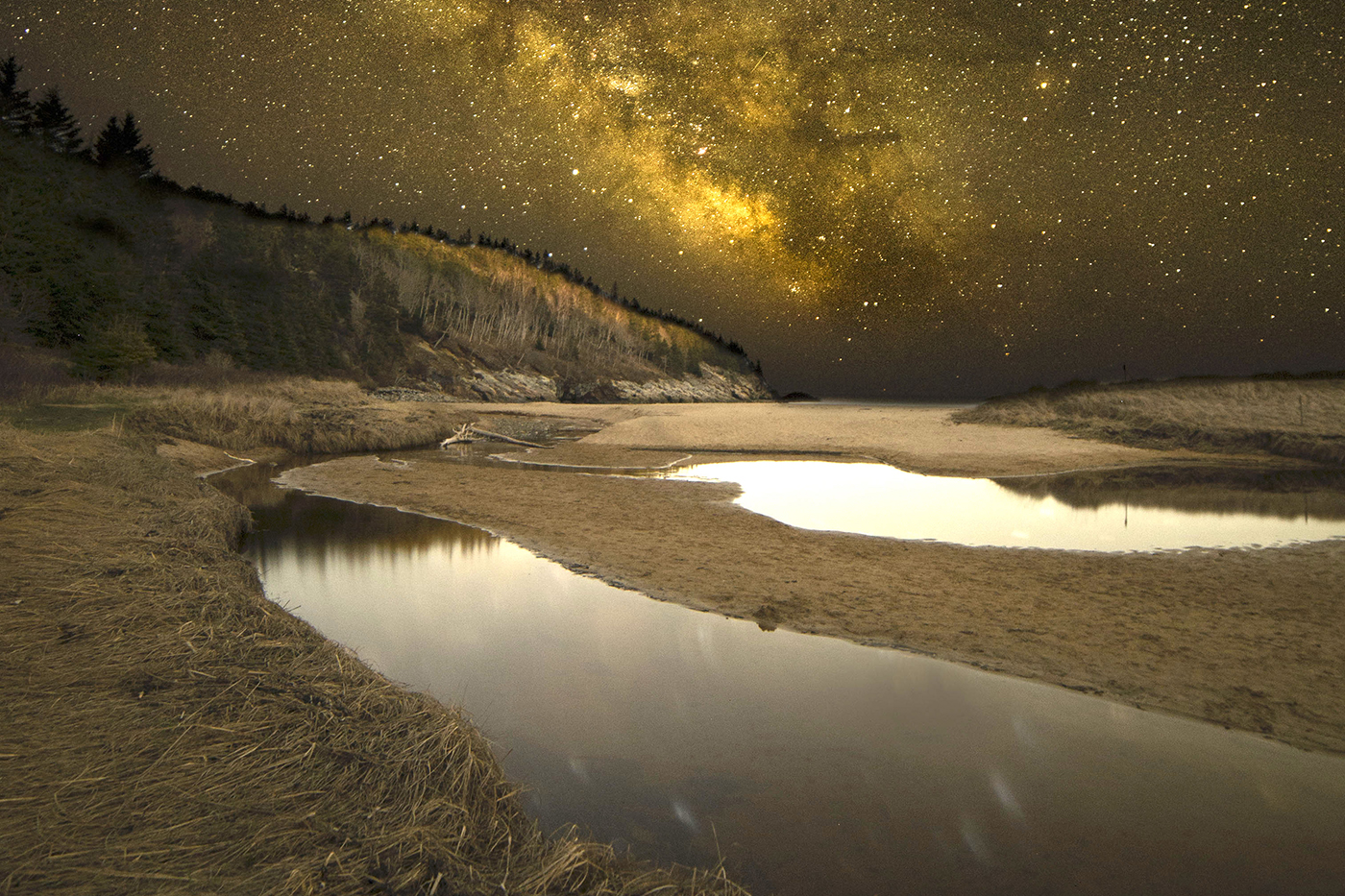 Sand Beach at night by Gerard Monteux