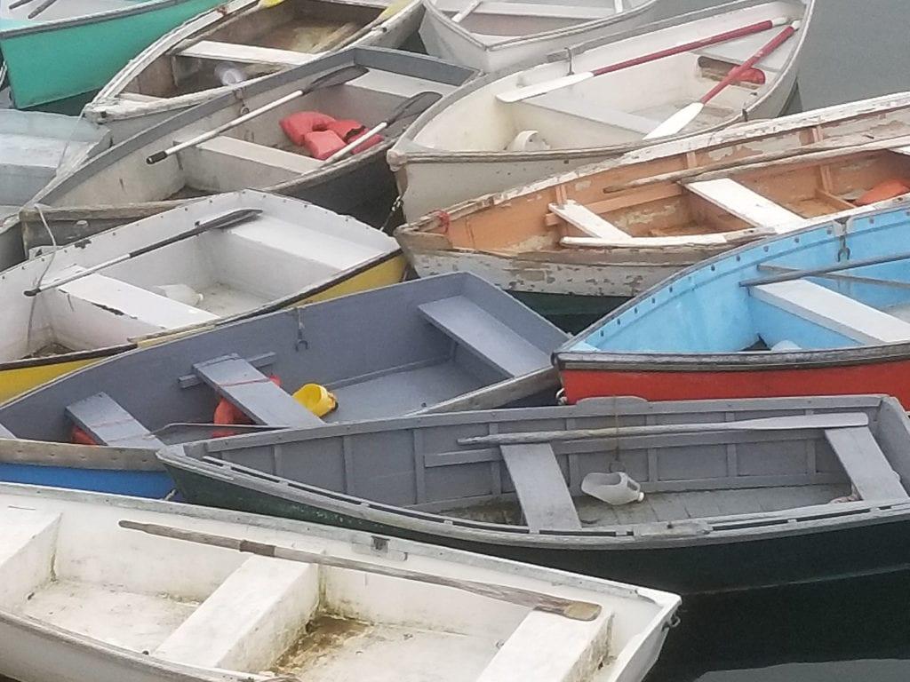 Schoodic skiffs at rest, Winter Harbor, by Penny Walls