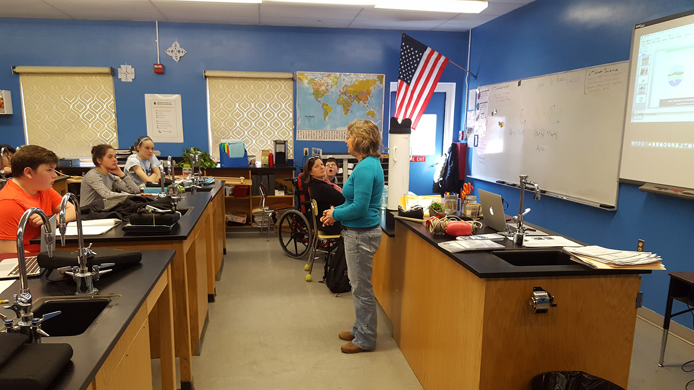 Denise Blanchette, Maine DEP biologist, speaking to the 7th Grade at HES