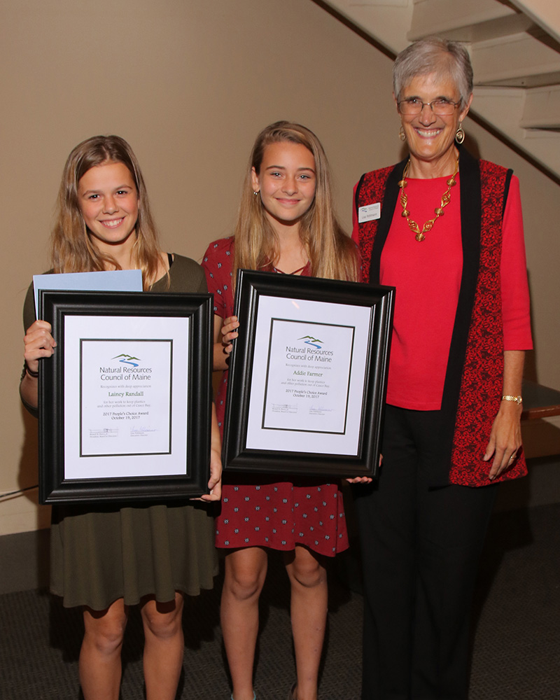 NRCM People's Choice Award winners (from left): Lainey Randall and Addie Farmer, with NRCM CEO Lisa Pohlmann