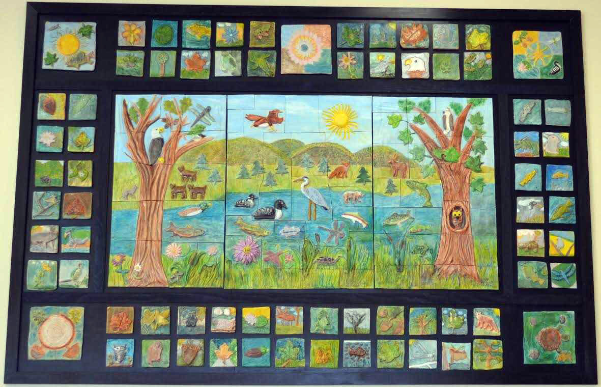 Watershed mural created by students and local artist Randy Fein