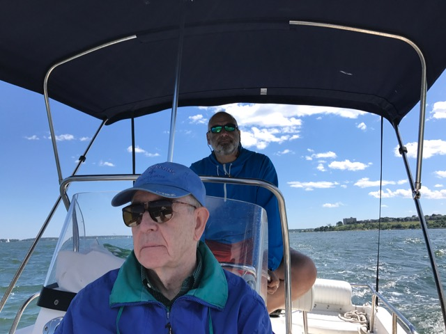 Phil Notis, captaining with guest Jack Jackson on Casco Bay