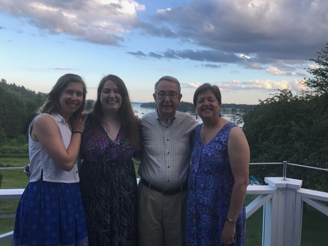 Rebecca Schilling with Alex Jack and Ellen Jackson at Asticou Inn on deck overlooking NorthEast