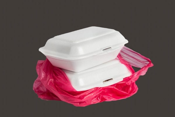 plastic bags and polystyrene foam