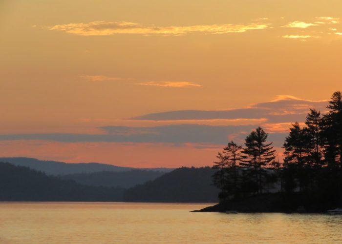 July sunset Sebec Lake